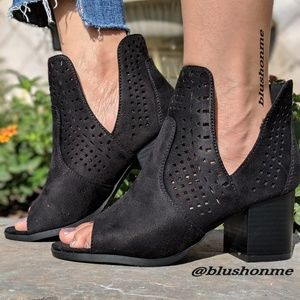 Shoes - Peep Toe Side Cut Booties